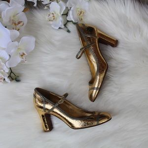 J.Crew Penelope Mary Jane Pump Gold Leather